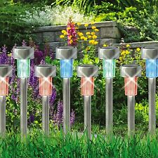 10x a colori cangianti LED in Acciaio Inox da Giardino Ricaricabili Lampade Solar Lights