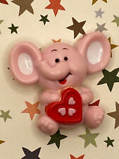 Vintage Russ Valentine Pink Elephant with Heart Candy Box with Hearts Pin!