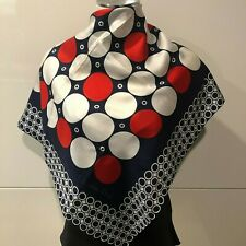 Christian Dior Silk Twill Navy, Red Combo Spot Scarf 67cmx67cm Handroll Hems