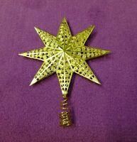 1 Baum Spitze Stern alt Christbaumschmuck Filigran gold Eckartina Metall 50er #1