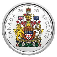 🇨🇦 New Colorized Canada 50 cents coin, Special Issue, Coat of Arms, UNC, 2020