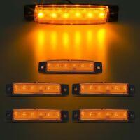 5pcs 12V 6 LED Truck Bus Boat Trailer Side Marker Indicators Light Lamp Amber