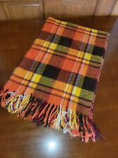 Vintage Acrylic Fringe Throw Blanket in Fall Colors orange brown yellow