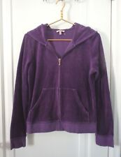 Juicy Couture Juniors Size XL Purple Velour Hooded Track Zip Jacket Hoodie EUC