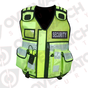 """Overwatch TB1 Yellow Reflective Load Bearing Vest - Including """"Security"""" Patches"""
