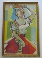 MID CENTURY PAINTING ABSTRACT EXPRESSIONISM FEMALE MODEL 1950'S CUBIST CUBISM