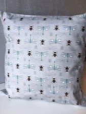 "Bees and Dragonflies 16"" x 16"" Cotton Cushion Cover in 'Botanist' Fabric"