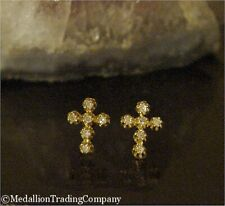 14k Yellow Gold .24 Carat Buttercup Set Diamond Cross Line Earrings