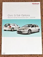2002 HONDA CIVIC ACCESSORIES Sales Brochure - Body Kits Alloys Audio etc - Mint