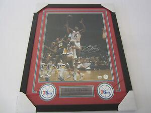 Julius Erving Philadelphia 76ers Signed 16x20 Framed Matted Mounted Memories CAS