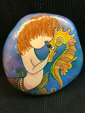 MERMAID & SEAHORSE PAINTING ON A STONE ROCK DECORATIVE ART OR PAPERWEIGHT
