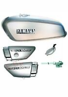 Yamaha RX100 RX125 Petrol Fuel Gas Tank With Chrome LID Cap & Side Panels Silver