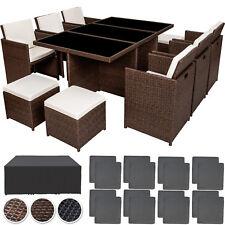 Poly Rattan Gartenmöbel Garnitur Sitzgarnitur Aluminium 6 Stühle Tisch 4 Hocker