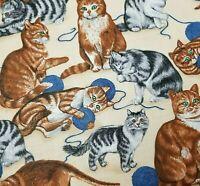 Cats Cranston Cotton Fabric VIP Printworks Kittens Feline 2 1/4 yard 44W x 81L