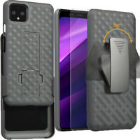 For Google Pixel 4 / Pixel 4 XL Belt Clip Holster Case with Tempered Glass