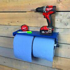 MegaMaxx Industrial Wall Mount Dual Paper Towel Blue Roll Dispenser Shelf