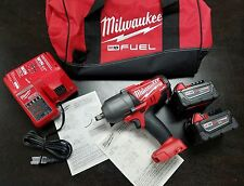 "MILWAUKEE 2763-22 M18 Fuel 1/2"" High Torque Impact Wrench 5.0  AMP HR BATTERIES"