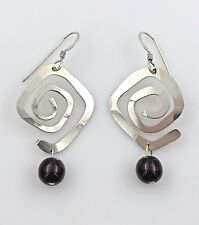 Vintage .925 Sterling Silver & Garnet Bead, Abstract Maze Earrings, French Wires