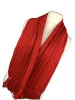 Red Bright Knitted Woolly Long Knitted Boho Tassel Scarf Tasselled Snuggly