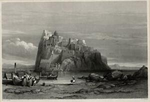 THE CASTLE & ROCK OF ISCHIA ITALY Antique Print 1840 FISHER SON & CO - J SANDS