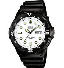 Casio MRW200H-7EV, 100 Meter WR Watch, Black Resin Band, White Dial, Day/Date
