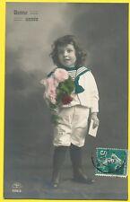 cpa FANTAISIE ENFANT COSTUME MARIN BONNE ANNEE FANTASY CHILD SAILOR NEW YEAR