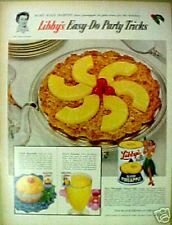 1955 Libby's Hawii Pineapple Hawaiiana Hula Girl Art Ad