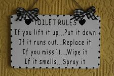 Decorative Handcrafted TOILET RULES bathroom Wooden Sign/Plaque (Black on White)
