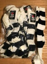 Lot 8 Pairs Red Lion Tall Stretch Nylon Stripe Socks Soccer Black and White NWT