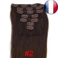 EXTENSIONS DE CHEVEUX A CLIPS 100% NATURELS REMY HAIR 53CM CHATAIN FONCE #2