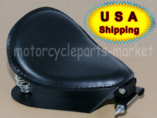 "Black Leather SOLO Seat Pan Cover Frame 3"" Spring Kits For Harley Bobber Chopper"