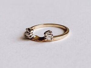 Vintage Ring Enhancer / Ring Wrap Guard / 14k Yellow Gold / Baguette Diamonds