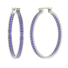 0.70 ctw Certified Round Tanzanite Inside Out Hoop Earrings in 14k White Gold