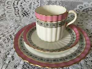 Victorian antique teacup trio -fluted shape with pink, black and gold design