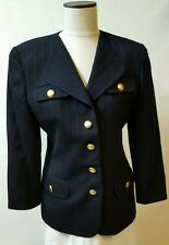 Christian Dior Size 6 Blazer Navy Blue 100% Wool Lined Gold Buttons Vintage USA