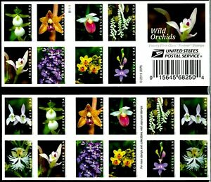 US NATURE SCOTT #5445-5454 WILD ORCHIDS VF 20 FOREVER STAMP 2-SIDED BOOKLET PANE