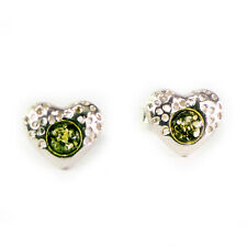 Perfect for Amber Jewellery lovers - Sterling Silver Heart Shaped Stud Earrings