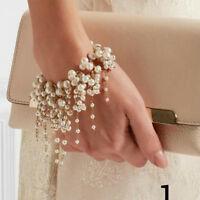 Women Fashion Faux Pearl Tassel Bracelet Party Cocktail Jewelry Charm Gift Wide