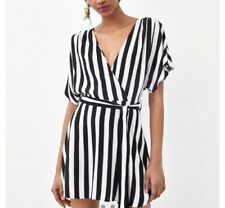 Zara Black And White Striped Wrap Playsuit