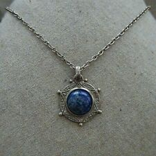 - Silvertone Metal Link Chain Express Blue Stone Medallion Necklace