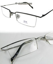 Men Eyeglass frame Half-rimless Optical Metal rectangle Silver/Black 49-21-140