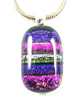 DICHROIC Glass PINK Magenta PURPLE Violet Oval Silver PENDANT Striped Texture