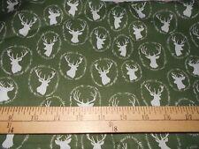 1 yard  Deer Heads on Sage Fabric