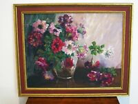 Vintage IMPRESSIONIST FLORAL STILL LIFE - GOLDIE HOOVER, CA - OIL PAINTING ON BO