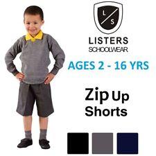 Boys Zip Up School Shorts Summer Black Grey Navy Age 2 3 4 5 6 7 8 9 10 11 12 13
