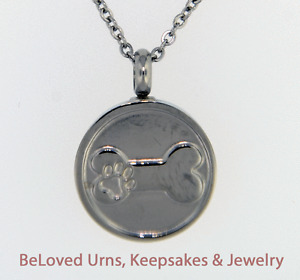 Round With Paw Print On Bone Cremation Jewelry Urn-Chain & Funnel, Dog, Cat, Pet