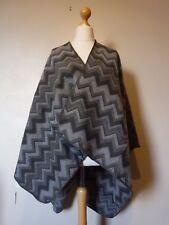 Womens Ladies Knitted Zig Zag Poncho Cape Wrap Cardigan BNWT Grey Uk Freepost
