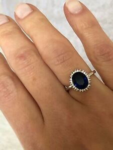 Genuine 925 Sterling Silver Princess Diana Engagement Ring