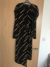 M&S WOMEN'S LONG JERSEY DARK NAVY STRIPY TIE WAIST DRESS size 8