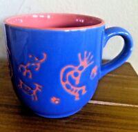 Southwest Design Embossed Kokopelli Ceramic Coffee Mug Rust / Vivid Blue MINT